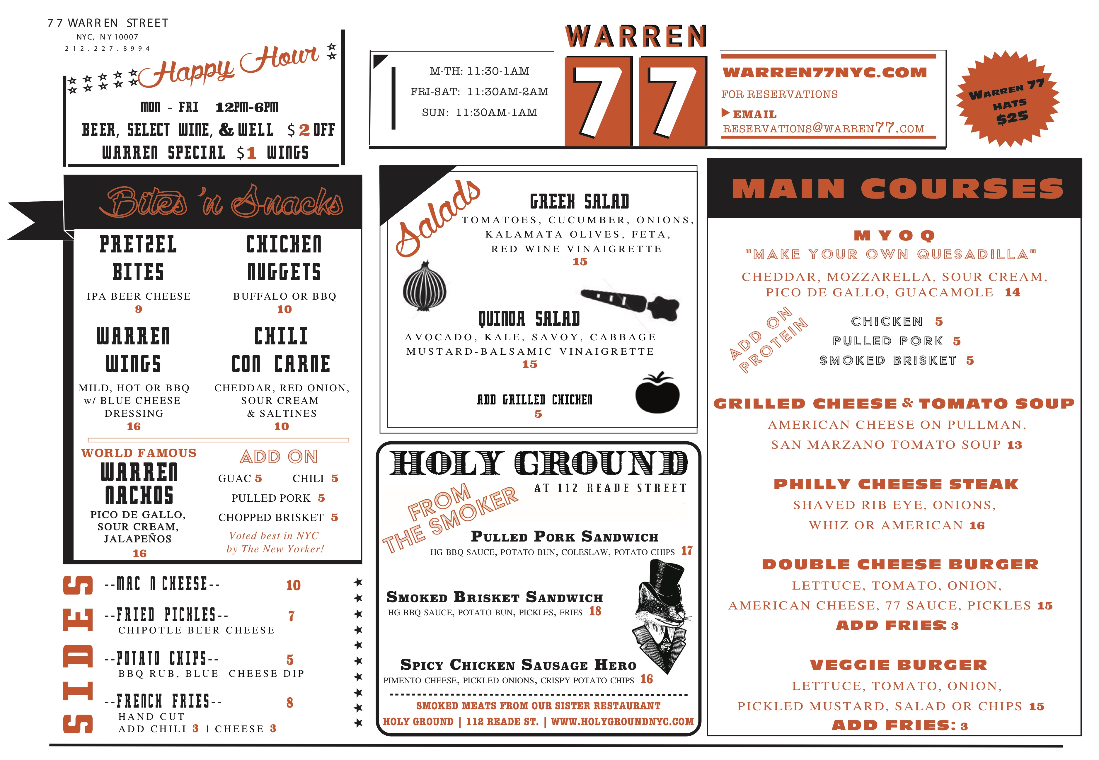 View the Warren 77 NYC Menu